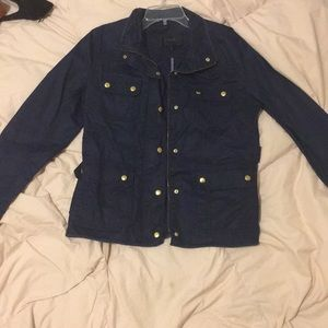 Navy J Crew waxed jacket Medium